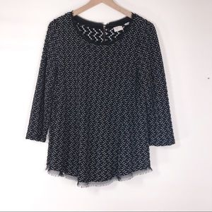 Anthropologie Postmark black and white tunic top L
